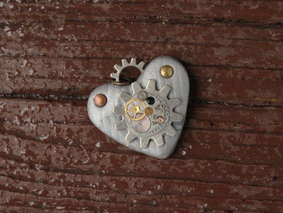 Gioielli cuore di argilla con Steampunk ingranaggi industriali età argento