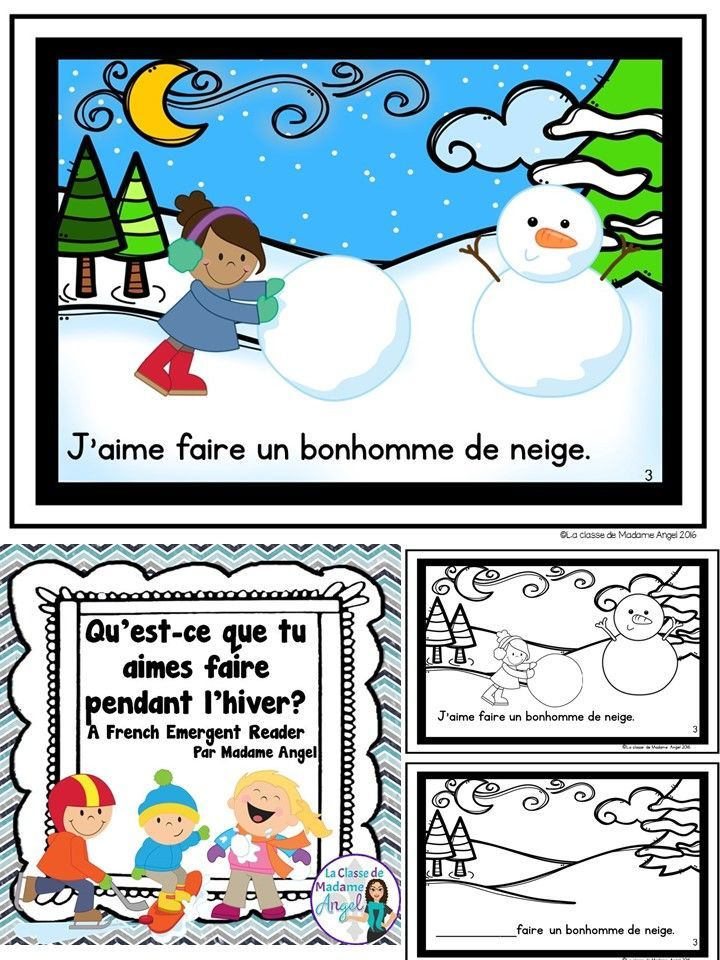 """Les activités en hiver.  This emergent reader in French teaches students all about popular winter activities using the expression """"J'aime. . ."""""""