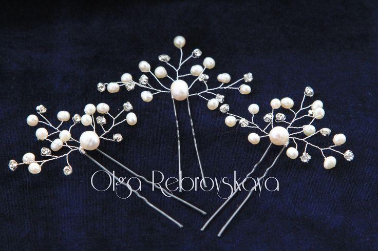 """Свадебные шпильки """"Жемчужные веточки"""". Изготовлены из натурального речного жемчуга, страз и ювелирной проволоки."""