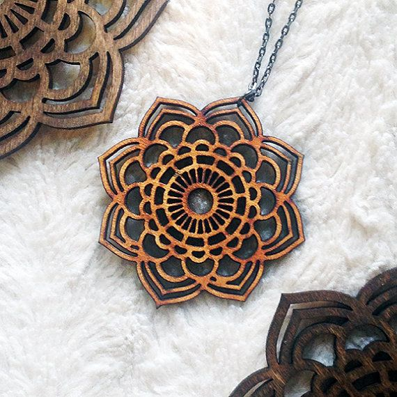 Boho Mandala Necklace - This Large Mandala Statement Necklace is made of 1/8 alder wood. Natural wood coloring. 16 Gunmetal Alloy Chain (Cadmium,