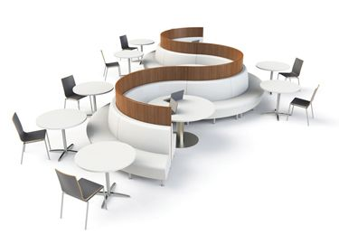 Back to back seating AGATI's Hampton Seating is expanding its horizons with outer curves. While the basic Hampton is for casual, open spaces, the curved Hampton effectively uses space with a versatile design. The Hampton features a shorter seat, taller back, and a pitch ten degrees more upright than other lounge chairs, for wherever a work seat is preferable. Both the curve and the straight Hampton accommodate additional surrounds for privacy and freestanding meetings.  www.agati.com