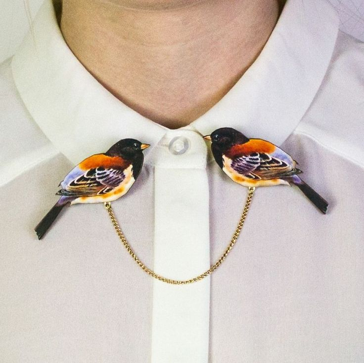 Bird Wooden Collar Clips