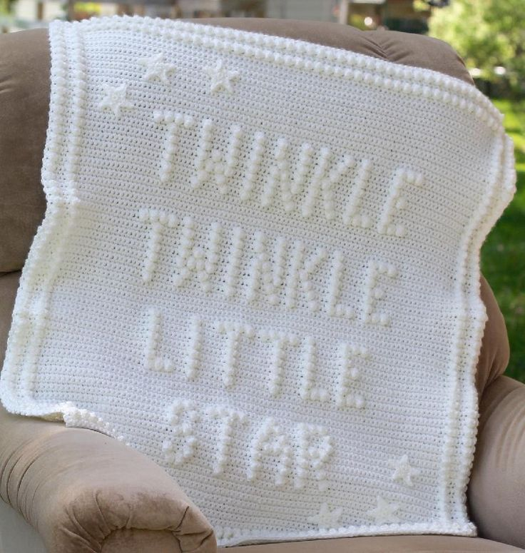 "Twinkle Twinkle Little Star...............Perfect gift for the new mom and new baby! Made as a Shower Gift would be amazing!Mom can bring baby home from hospital in this wonderful blanket.Finished measurements are approximately 27"" x 34"".As the baby gets older he or she will love touching and soothing themselves with the popcorn stitches and will most likely carry it around with them for years to come.This pattern is written in American terms, there are lots of pictures to guide…"