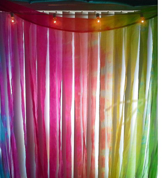 Retro watercolor hand dye silk curtain