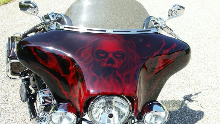 Airbrush Zombie Girl With Flames And Fire On A Harley
