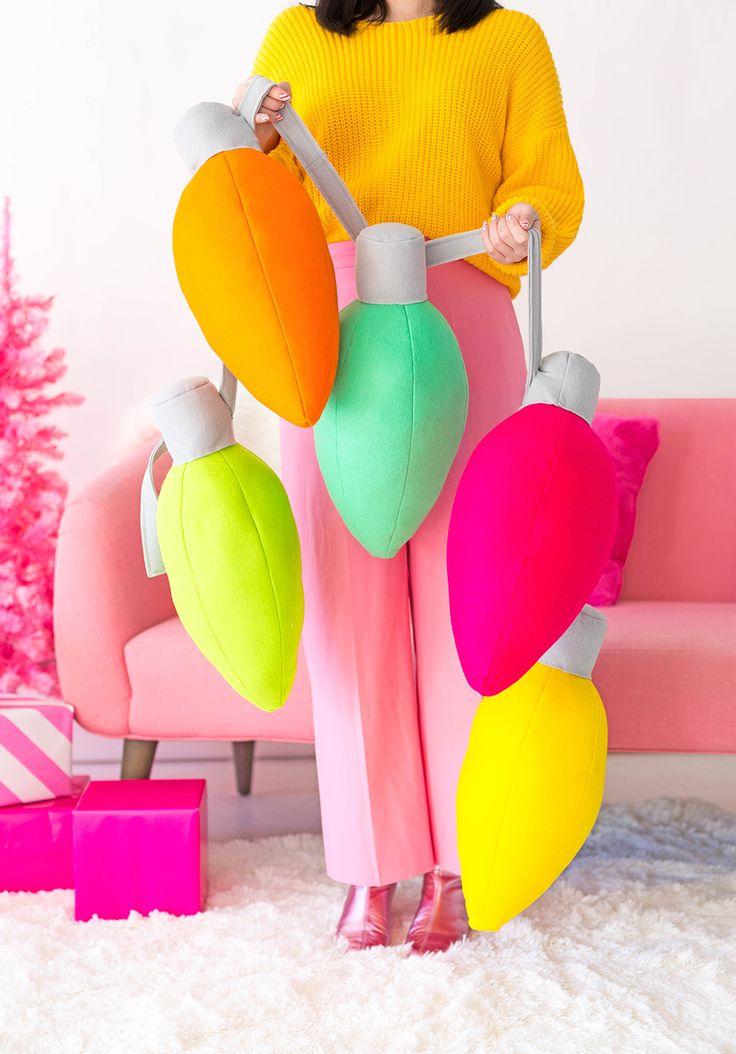 DIY Holiday Light Pillows