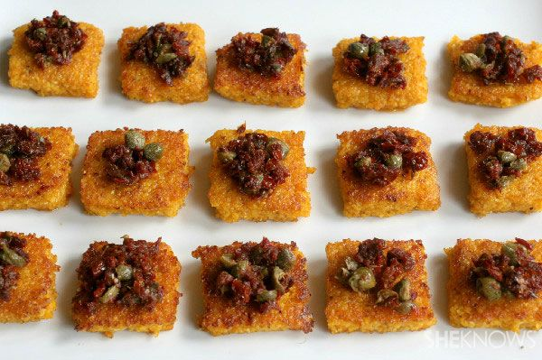 sun-dried tomato & anchovy tapenade w/ capers & olive oil on pan-frie...