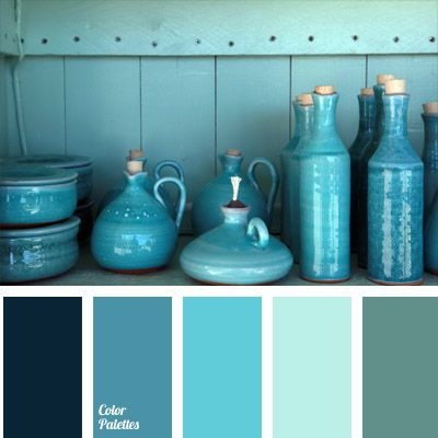 Blue and deep blue shades of different intensity with grey and deep blue hues make a bright yet relaxed range. This palette will be good for kitchens or bathrooms, and will look especially peculiar in summer office dress code.