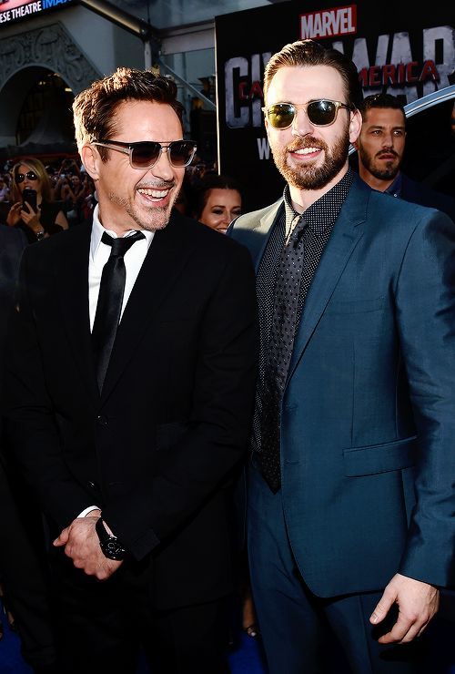 Robert Downey Jr. & Chris Evans attend the premiere of Marvel's 'Captain America: Civil War' at Dolby Theatre on April 12, 2016 in Los Angeles, California.