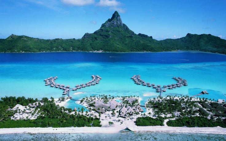 Бора-бора, курорт, острова, тихий океан, отель, шезлонги, отдых обои, картинки, фото