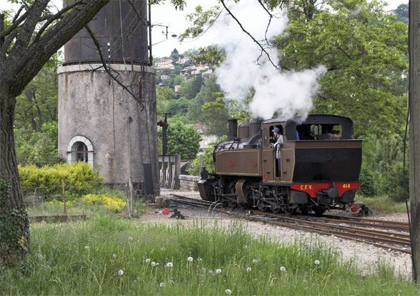 CFV No.414 runs forward to take water at Lamastre. The locomotive is fitted with a Kylchap exhaust system. © Brian Bane