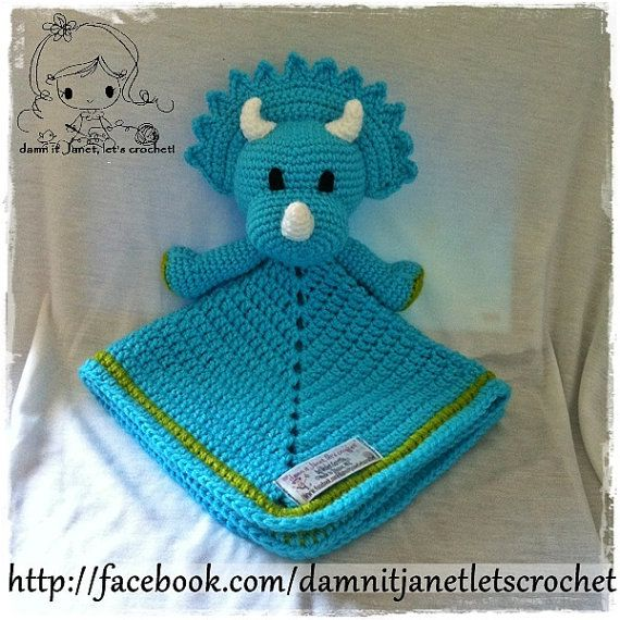 "Triceratops Security Blanket (Size 17"" by 17"") - PDF Crochet Pattern - Instant Download"