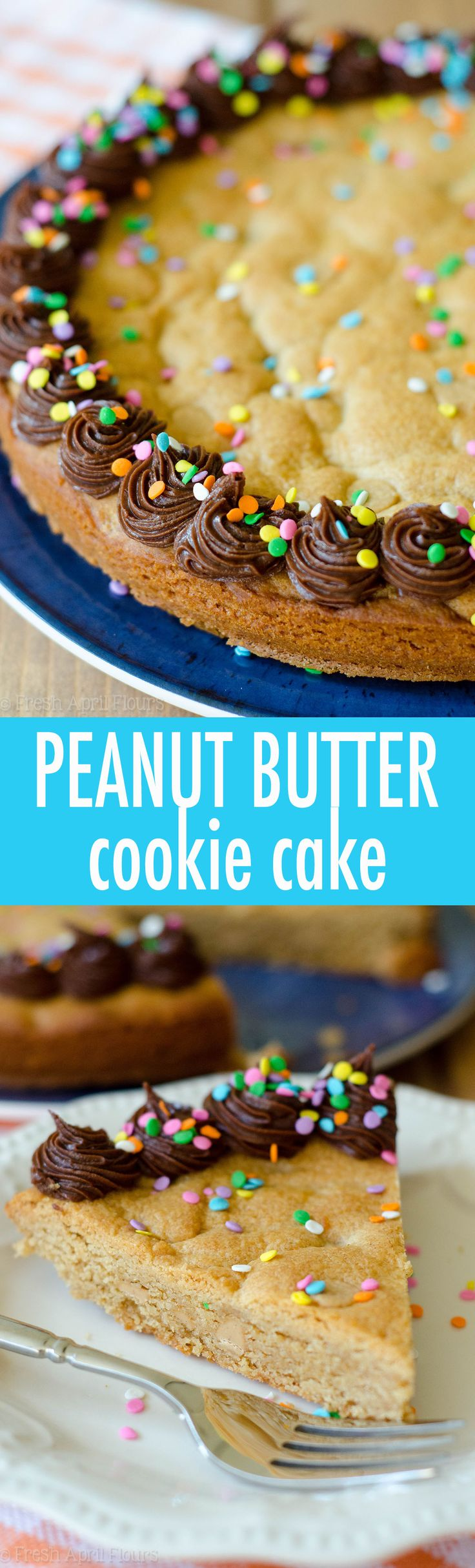 Peanut Butter Cookie Cake: A peanut buttery twist on the classic cookie cake. Top with chocolate, peanut butter, or vanilla frosting and get to decorating! via @frshaprilflours