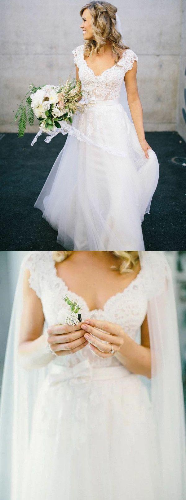 A-Linie V-Ausschnitt Kappe Ärmel Tüll Brautkleid mit Spitze – Brautkleid Vintage