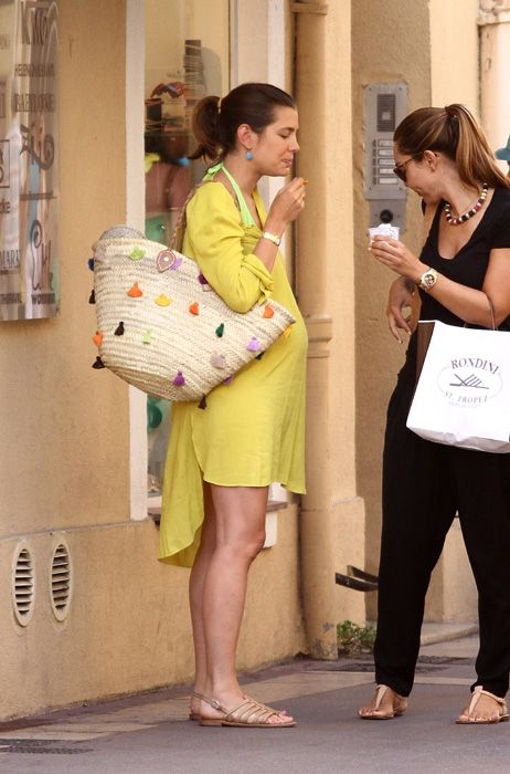 (L) Charlotte Casiraghi positively glowing as she shopped with a friend in St Tropez just days before her brother Andrea Casiraghi's wedding, 28 Aug 2013