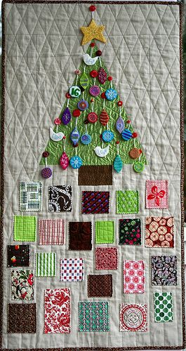 "What an interesting concept, and a sort of quilty pun: the ""presents"" are squares of fabric, and as all quilters know, fabric is one of the best gifts!"