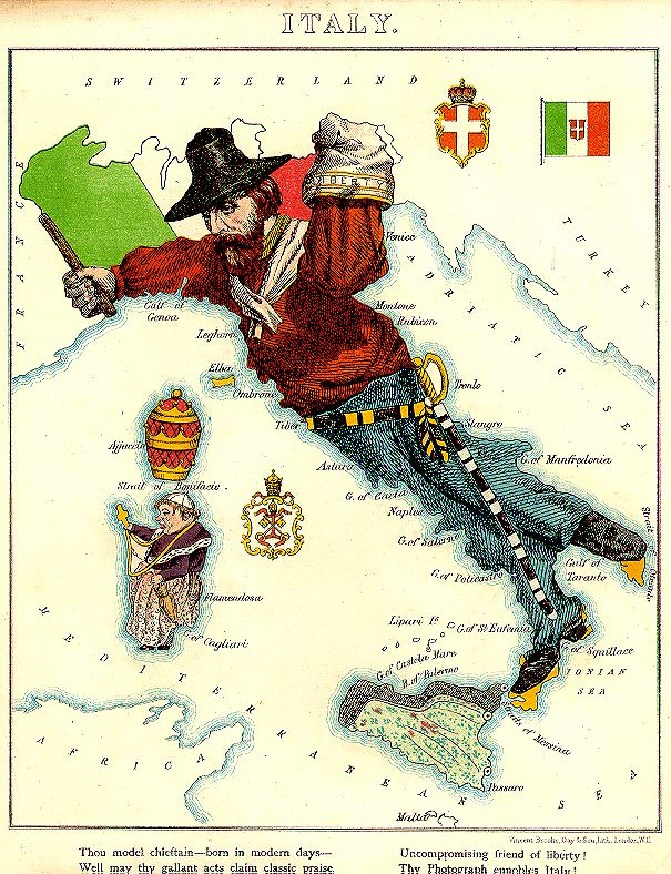 "Satirical map of Italy by William Harvey (alias Aleph). From Aleph's 1869 ""Geographical Fun, or Humorous Outlines of Various Countries"" published in London by Hodder and Stoughton."