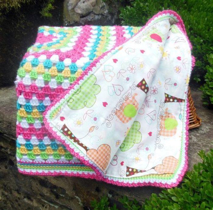 Good idea! Reversible blanket: one side crochet, one side nice fabric! Crochet Baby Blanket Baby Girl Elephant by BellaBeansCrochet
