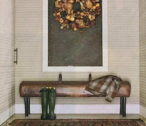 A gymnastics horse as a bench; if you know us, you know we need this in our home! :) Anyone have one they want to get rid of?