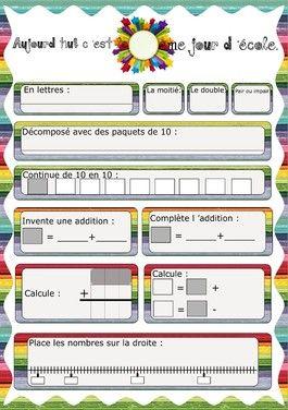 Chaque jour compte-exercices de calcul à partir du nombre du jour : addition posée et addition à trou
