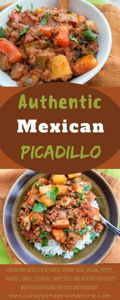This Authentic Mexican Picadillo Recipe is the most delicious, easy picadillo recipe. Perfect on top of white rice, filling for tacos or empanadas. #picadillo #mexicanpicadillo #groundbeef #potatoes | mexicanappetizersandmore.com