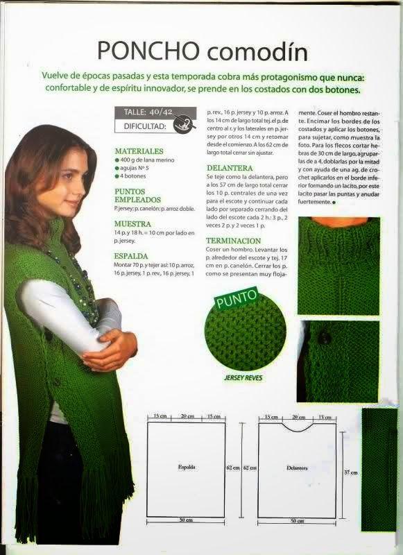 4 patrones de ponchos tejidos con dos agujas | Crochet y Dos agujas