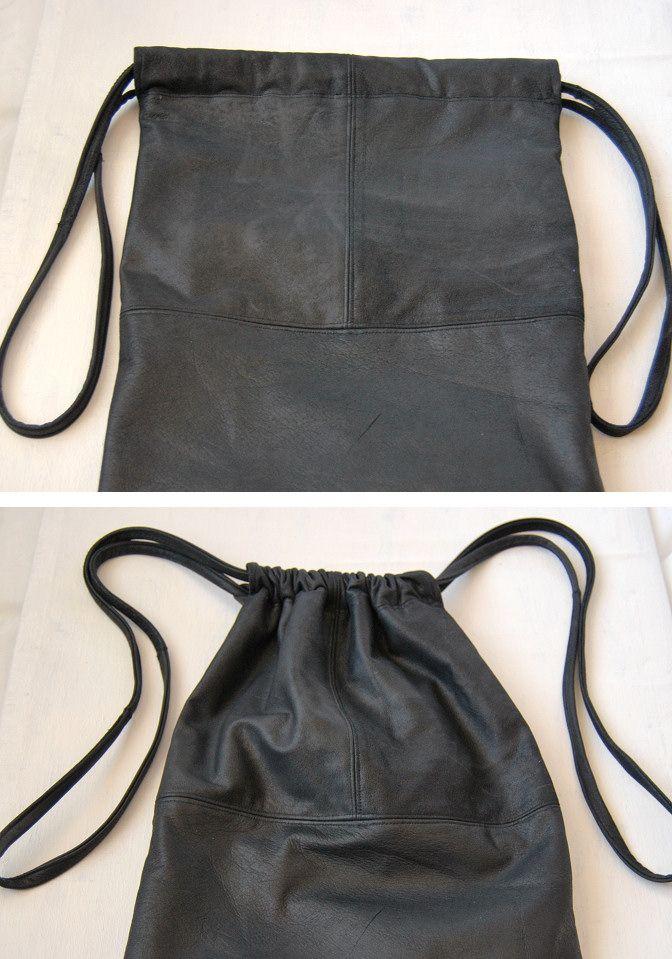 Leather Drawstring Bag Diy Tutorial Bags Pinterest And