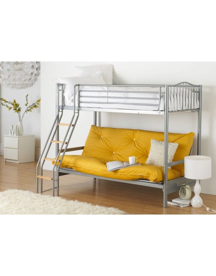 Hyder Alaska Futon Bunk Bed with a single bed on top and double futon sofa  bed underneath.