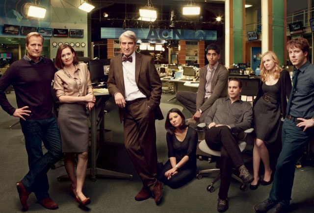 "The Newsroom cast (left to right): Will McAvoy (Jeff Daniels), MacKenzie McHale (Emily Mortime), Charlie Skinner (Sam Waterson), Sloan Sabbith (Olivia Munn), Neal Sampat (Dev Patel), Don Keefer (Thomas Sadoski), Margaret ""Maggie"" Jordan (Alison Pill), James ""Jim"" Harper (John Gallagher, Jr.)"