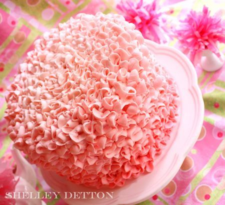 Beautiful Pink Ruffle Cake! The inside of the cake is tinted to match as well. Click the link to see the blog post!
