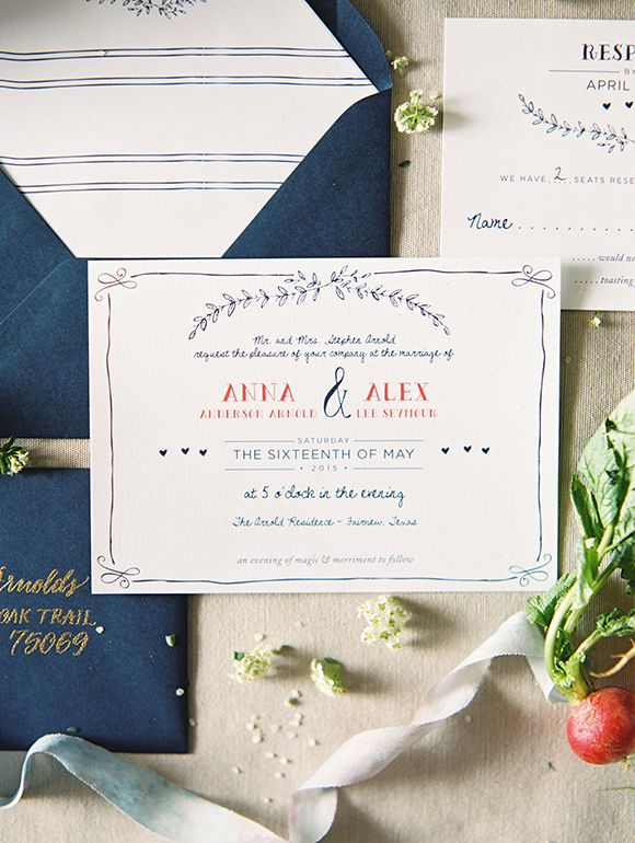 Love this beautiful fun and whimsical wedding invitation. Very charming and the hand lettering looks gorgeous.