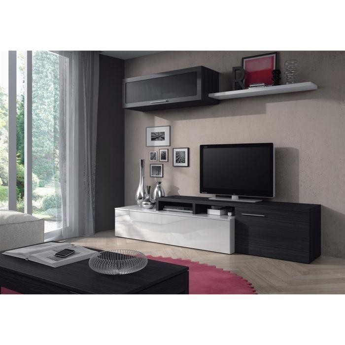 NEXUS Meuble TV mural 200 cm blanc/gris - Achat / Vente meuble tv NEXUS Meuble TV mural Panneaux particules + revêtement melaminé - Cdiscount