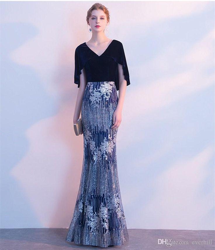 Elegant V-Neck Sequin Evening Dress With Short Cape Mermaid Long Dresses For Prom Party 2018 Shiny Robe Dubai Gowns Avondjurken Gala Jurken