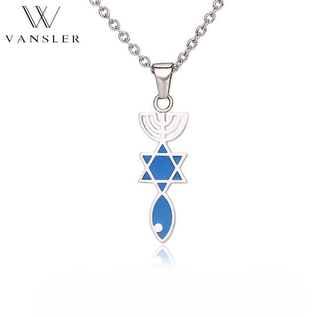 VANSLER Judaism Pendant Necklace Stainless Steel Link Chain Jewish Symbol Israel Star of David Vintage/Classic Gift N0040001