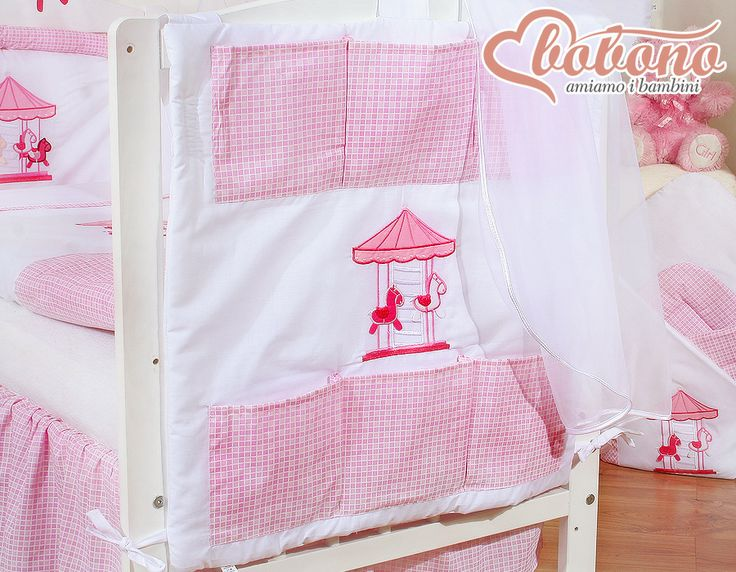 "Pink cot tidy ""Carousel"" / Bobono"