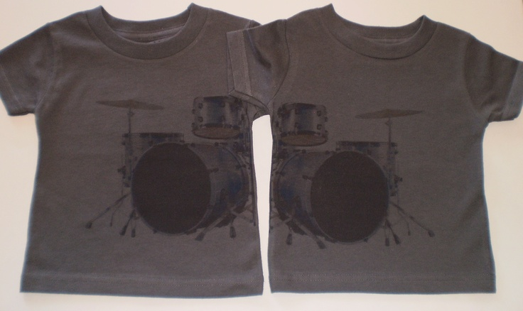 Double drum set printed across two cotton tshirts lets twins rock their synchronized style