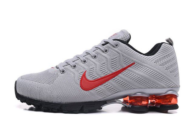 cheap for discount 8851e 39ffa Nike Air Shox Flyknit Cool Grey Red Black Shox R4 Men s Athletic Running  Shoes - ShoesClan.com