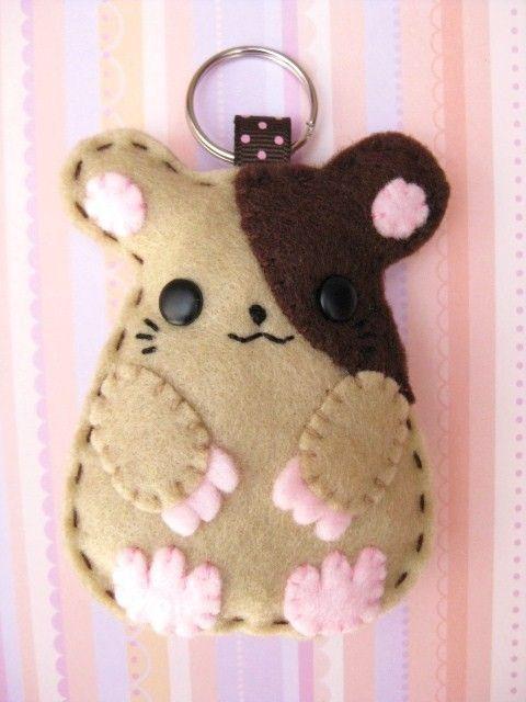 Animal Felt Keychain - Hammie the Hamster. $15.00, via Etsy.