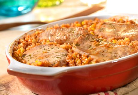 It couldn't be easier to get an enjoyable dinner on the table...simply combine the ingredients in a baking dish and pop the dish in the oven. In less than an hour, you have a savory pork chop and rice dinner.