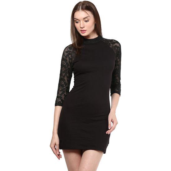 Black bodycon cotton lace dress  Rs. 749  Save 50%