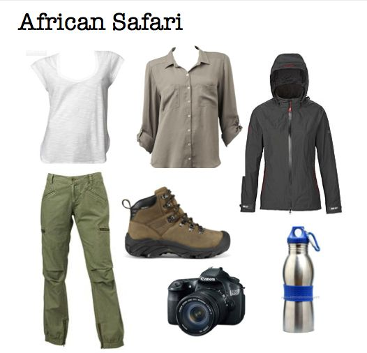 African safari outfit plus hat gloves and a couple of fleeces for those early morning bush rides in the South African winter!!
