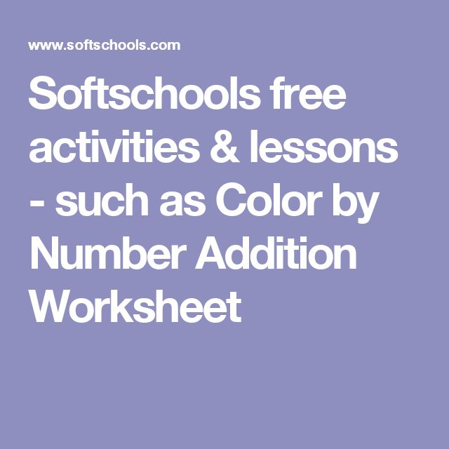The 9 best better learning images on pinterest minecraft student softschools free activities lessons such as color by number addition worksheet fandeluxe Image collections