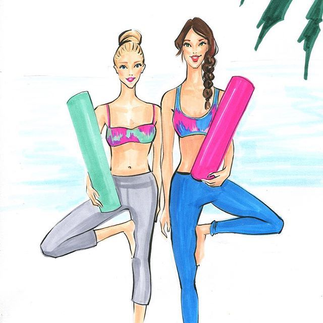 Yoga besties! Fashion illustration by Rongrong DeVoe. More fashion wall art at www.rongrongillustration.etsy.com