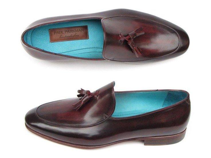 Mens Dress Loafers with Tassel by Paul Parkman (Black & Purple)