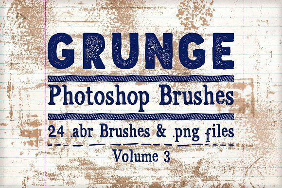 Grunge Photoshop Brushes Vol 3 by Clikchic Designs on @creativemarket