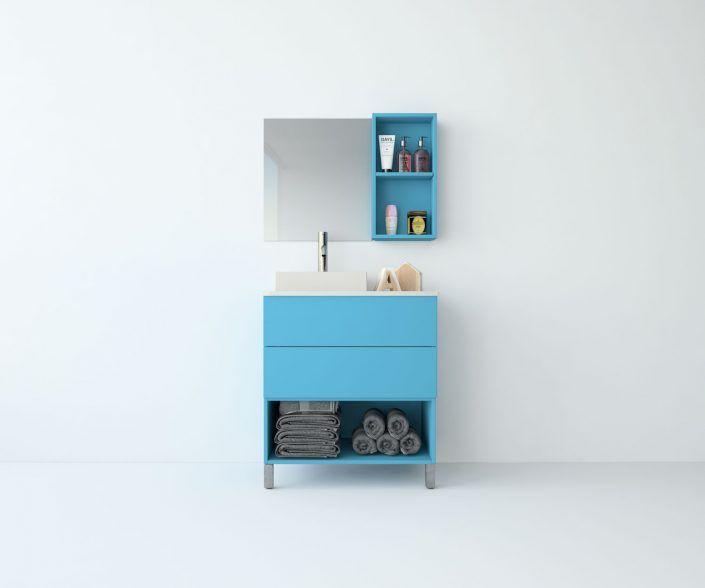 Muebles de baño, propuestas de composiciones para conseguir amplitud en el almacenaje: cajones, puertas correderas, abatibles, huecos vistos, etc. unibaño-compactos-almacenaje-20