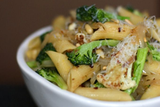 Sicilian broccoli and cauliflower pasta- onion, garlic, red pepper flakes, rosemary, golden raisins, pine nuts, parmesan
