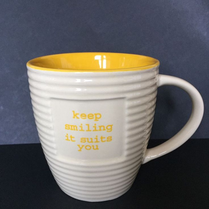 "Old Pottery Company Little Thoughts ""Keep Smiling It Suits You"" 20 oz Coffee Mug  