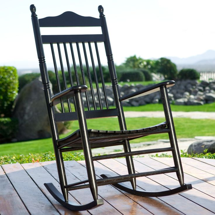 Dixie Seating Indoor/Outdoor Spindle Rocking Chair - Black - Outdoor Rocking Chairs at Hayneedle