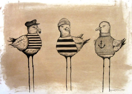 3 Gaviotas, acrylic and wax on paper, 297x420mm, 2011  Copyright © 2011 Daniela Garreton  SOLD